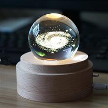 創意設計小物館 浪漫水晶球旋轉音樂夜燈 銀河