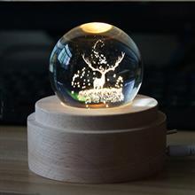 創意設計小物館 浪漫水晶球旋轉音樂夜燈 麋鹿